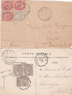 """3 C. ROUGE Sur Fragment + Jolie Carte """"CONVOYEUR LIGNE"""" - 1900-29 Blanc"""