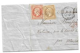 (C04) - Y&T N° 21+23 - GRAND FRAGMENT -SMYRNE =< MARSEILLE  1865 - GC 5098 - 1862 Napoleone III