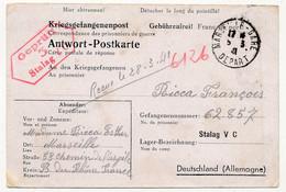 KRIEGSGEFANGENENPOST - Carte Postale Réponse Pour Le Stalag V C - Censeur 3 - 1941 - Prisonnier Français - Guerra Del 1939-45