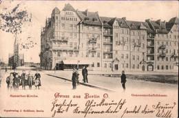 ! Alte Ansichtskarte Gruss Aus Berlin O, Friedrichshain, Samariterkirche, Samariterplatz, Verlag J. Goldiner - Friedrichshain