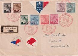 TCHECOSLOVAQUIE 1945 LETTRE RERCOMMANDEE DE PRAHA - Covers & Documents