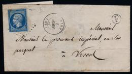 LAC Rioz 69 Haute Saone PC 2683 Sur 14A CAD 15 8 Aout 1857 Boite Rurale F Indéterminée CAD 15 Vesoul  RARE - 1849-1876: Classic Period