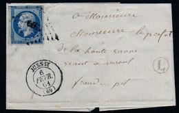 LAC Jussey 69 Haute Saone PC 1599 Sur 14BII CAD 15 6 Février 1861 Boite Rurale L Indéterminée CAD 15 Vesoul  RARE - 1849-1876: Classic Period