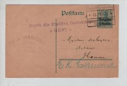REF3913/ Entier CP 5 C P.H. Martens C.Etappen Gent 22/6/15 Griffe Durch Die Etappen ... *Gent* > Hamme ( E.K.Termonde - [OC1/25] Gen. Gouv.