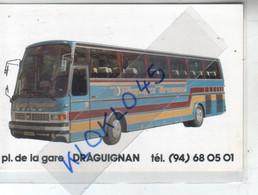 Photo Autocar Voyages Bremond  DRAGUIGNAN Pl. De La Gare - Jeux Concours PALMARES 80 Antenne 2  - CPSM Généalogie - Autobus & Pullman