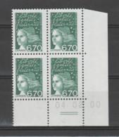 FRANCE / 1997 / Y&T N° 3098** : Luquet 6F70 Vert X 4 - Coin Daté 2000 02 04 (=) - 1990-1999