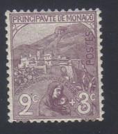 Monaco Au Profit Des Orphelins De La Guerre Vue De Monaco 2 C. + 3 C.  Violet-brun  N° 27** Neuf - Nuovi