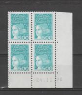 FRANCE / 1997 / Y&T N° 3097 ** : Luquet 5F Bleu-vert X 4 - Coin Daté 1998 11 24 ( ) - 1990-1999