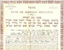 JUDAICA .MARIAGE ISRAELITE A ALGER . 1942 - Godsdienst & Esoterisme