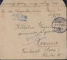 Guerre 14 Prisonnier Allemand En France FM Düsseldorf 2 1 17 Censure Allemagne + Visé 13e Région Roanne Loire Hôpital 25 - Oorlog 1914-18