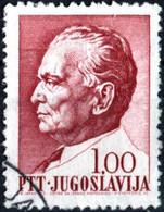 JUGOSLAVIA, YUGOSLAVIA, MARESCIALLO TITO, 1967, 1,00 D., FRANCOBOLLO USATO Mi:YU 1242x, Scott:YU 869, Yt:YU 1160 - Gebraucht