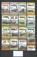R113F-LOTES SELLOS TRENES FERROCARRIL LOCOMOTORAS TRANVIAS,RAIL WAY COLONIAS INGLESAS, BEQUIA,SAN VICENTE,GRENADINES,UNI - Treinen