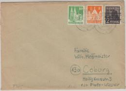 Bizone - 2+8+10 Pfg. Bauten/Arbeiter-Band Brief Retzbach - Coburg 1948 - Zona Anglo-Américan