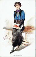 Illustrateur : W. BARRIBAL. The Girl In Blue. Femme. Art Nouveau. Mode. - Barribal, W.