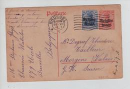 REF3920/ Entier CP 10 C + TP Oc 12 C.Brüssel 20/6/1918 Pas De Censure > Suisse Morgins Valais - [OC1/25] Gov. Gen..