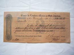 Chèque Illustré 1894 Banque De Londres à Mexico + 4 TP Fiscaux - Cheques & Traveler's Cheques