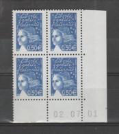 FRANCE / 2002 / Y&T N° 3449 ** : Luquet RF 0.50 € Bleu X 4 - CD Avec 1 Bande PHO Coupée Case 99 & 100)2001/07/02 ( ) - 2000-2009