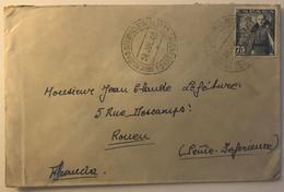 LSC Avec Cachet De Universidad Internacional De Verano (Santander) Pour Rouen En 1949 - 1931-50 Covers