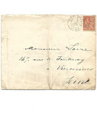 B100 Enveloppe PARIS DEPART MOUCHON Oblitéré 12-12-1900 Pour VINCENNES  SEINE 94 - 1877-1920: Periodo Semi Moderno