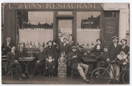 """CARTE PHOTO ECRITE DE BOIS COLOMBES (92) : MAISON """" SANTRE """" - COMMERCE DE VINS - RESTAURANT - CAFE - ENTREE HOTEL -zz- - To Identify"""