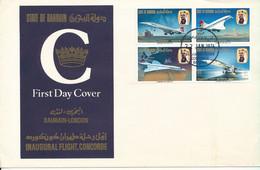 Bahrain FDC 22-1-1974 (Inaugural Flight Concorde Bahrain - London  Complete Set Of 4 With Cachet) - Bahrain (1965-...)