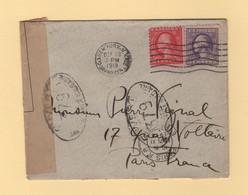 New York - 1918 - Destination Paris - Censure 379 - Controle Postal Militaire - Guerra De 1914-18