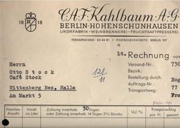 ! 2 Teile, 1x Alte Firmenrechnung Aus Berlin Hohenschönhausen Kahlbaum AG Likörfabrik Nach Wittenberg Cafe Stock - 1900 – 1949