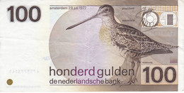 BILLETE DE HOLANDA DE 100 GULDEN DEL AÑO 1977  (BANKNOTE)  PAJARO-BIRD - 100 Gulden