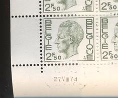 Elstrøm. 2,50F.  En Feuilles. Les 4 Planches. Date 27-VIII-73. Soit 200 Timbres - 1970-1980 Elström