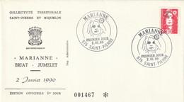 SAINT PIERRE ET MIQUELON Enveloppe 1er Jour 02-01-1990  Marianne - Briat - Jumelet - Timbre YT 518 - 1990-1999