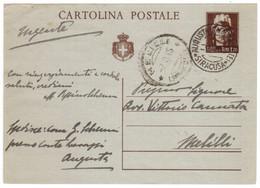 "WQ196  Luogotenenza 1945 - ""Cartolina Postale Da L.1,20 ""Italia Turrita"" Viaggiata Da Augusta Per Melilli - Poststempel"