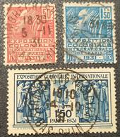 N° 272/273/274  Avec Oblitération Cachet à Date D'Epoque TB - Used Stamps