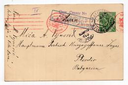1916 WWI AUSTRIAN OCCUPATION OF SERBIA,BELGRADE TO BULGARIA,CENSORED,STATIONERY CARD,USED - Interi Postali