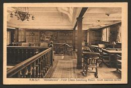 "RMSP ""ALMANZORA"" (South America Service) First Class Smoking Room. Old Postcard SHIP INTERIOR. Troopship - Paquebote"