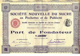 RARE TITRE 1908  Sté NOUVELLE DU SUCRE EN POCHETTES ET DE PUBLICITE  Paris    B.E.V.SCAN - Industry