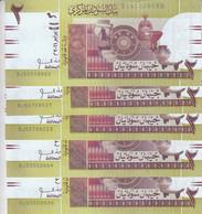 SUDAN 2 POUNDS 2011 P-71 LOT X5 UNC REPLACEMENT NOTES - Sudan