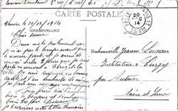 """Rare Cachet Ambulant De Mobilisation En FM """"Belfort A Paris 2° 2e Son 1914"""" Cp Bonviller - Railway Post"""