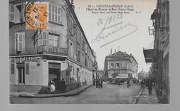 36  CHATEAUROUX  HOTEL DE FRANCE ET RUE VICTOR HUGO  TRES BON ETAT    BELLE ANIMATION   VOIR  LES  2  SCANS - Chateauroux