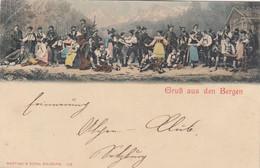 2973) GRUSS Aus Den BERGEN - Viele Männer Und Frauen In Tracht Mit Bergen Hinten - LITHO Würthle & Sohn Salzburg ALT ! - Gruss Aus.../ Grüsse Aus...