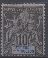 D - [41689]TB//*/Mh-c:90e-St Pierre Et Miquelon  - N° 63a, 1892, 10c Noir Sur Lilas Avec St Pierre Hors Cartouche, Très - Nuovi