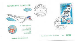 """281 - 45 - Enveloppe Du Gabon Avec Timbre Concorde Surchargé """"1er Vol Commercial 1976"""" Oblit 1er Jour Libreville - Concorde"""