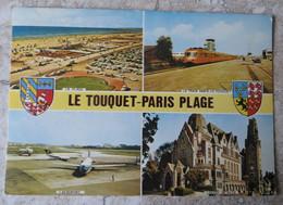 CPM 62 Le Touquet Paris Plage Multivues  Avec Blason Aéroport Avion - Train Paris Le Touquet Plage Artaud - Non Voyagée - Le Touquet