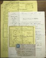 FRANCE - 1875 Yv.60C Sur LSC Taxée 40c Pour Timbre Ayant Déjà Servi Avec Dossier Dont Enveloppe De Chargement - 1849-1876: Periodo Clásico