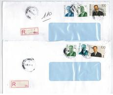Brussel City 2 1997 / Recommandé 2pcs / Etiquette R Vierge Blanco R Label - Storia Postale