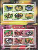 2018 Mauritania Fauna Insectos Mariposas 2 Block De 6v. C/u Mint IMPERFORADOS - Vlinders