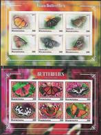 2017-8 Mauritania Fauna Insectos Mariposas 2 Block De 6v. C/u. Mint IMPERFORADOS - Vlinders