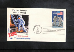 USA 1989 Space / Raumfahrt  Apollo 11 20th Anniversary Of The Moon Landing FDC - Verenigde Staten