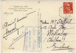 """FRANCE - 1948 CàD Recette Auxiliaire Rurale """" LES VIGNES / LOZÈRE """" Sur CP Pour L'Angleterre - 1921-1960: Modern Tijdperk"""
