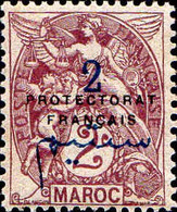 Maroc (Prot.Fr) Poste N** Yt: 38 Mi:2 Type Blanc (Petit Def.gomme) - Neufs