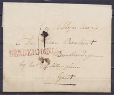 """L. Datée 4 Janvier 1828 De DENDERMONDE Pour GENT - Griffe """"DENDERMONDE"""" - Port """"10"""" - 1815-1830 (Dutch Period)"""
